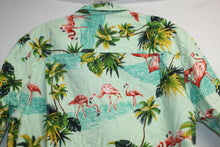 Load image into Gallery viewer, Vintage Pacific Legend Green Tropical Flamingos Size M