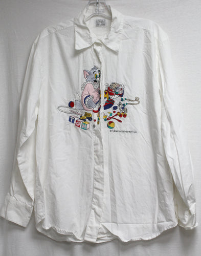 Vintage Tom & Jerry White Collared Long Sleeve Embroidered Shirt Size 44