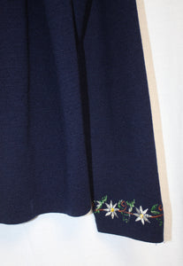 Vintage Northern Isles Navy Cardigan w/ Embroidery (see measurements)