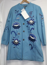 Load image into Gallery viewer, Indigo Moon Embroidered Boho Blue Coat Size M NEW w/Tags
