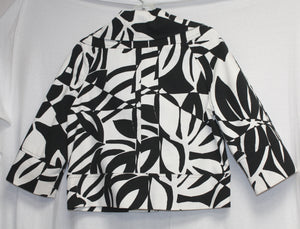 Cache Cropped Black and White Print Soft Denim Jacket 3/4 Sleeves Size S