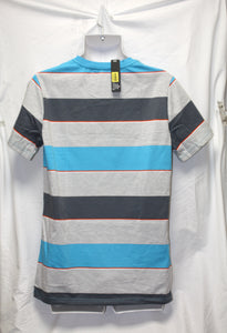 Boardwalk Striped Casual Stripe Gray Blue Pocket T-Shirt Size XL