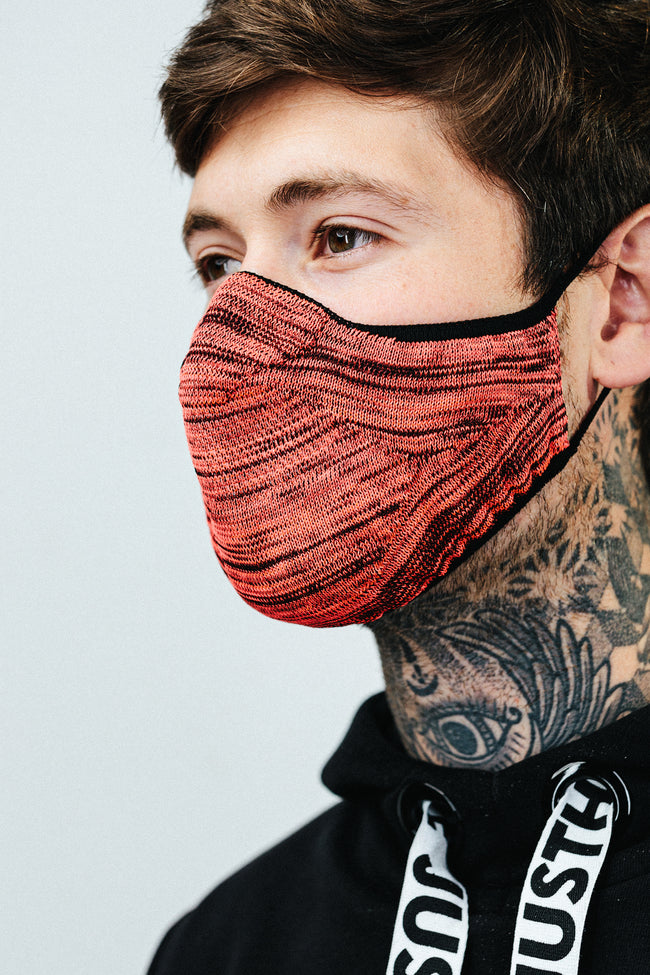 HYPE ADULT PINK & BLACK MELANGE KNIT FACE MASK