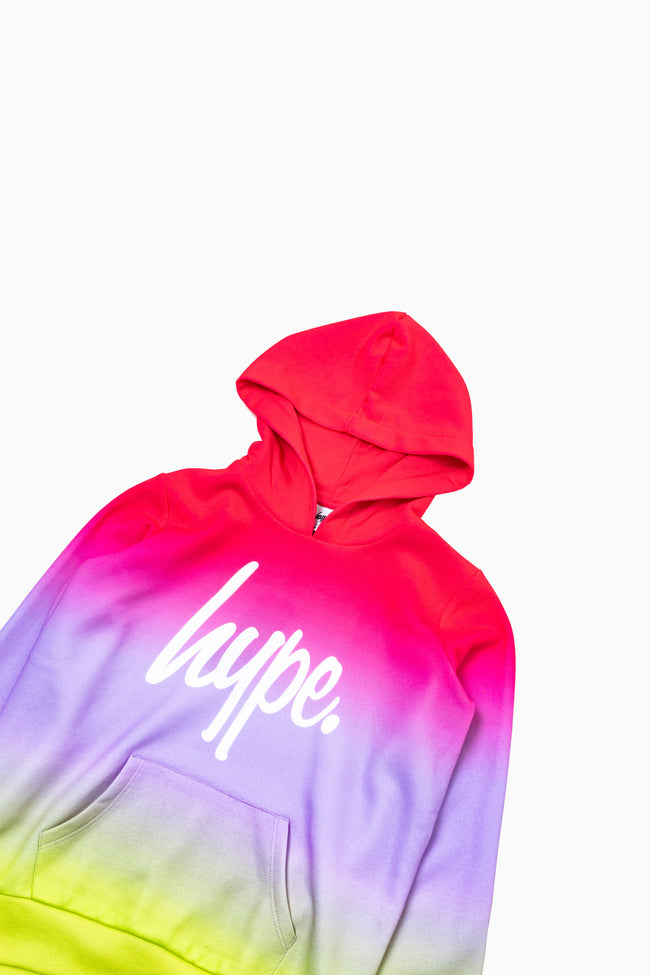 HYPE PINK & YELLOW FADE KIDS PULLOVER HOODIE