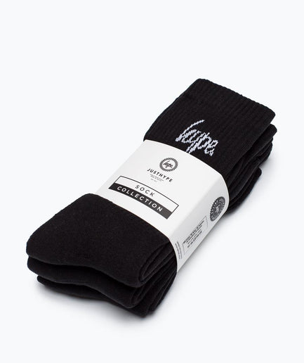 HYPE BLACK CORE CREW SOCKS 3X PACK