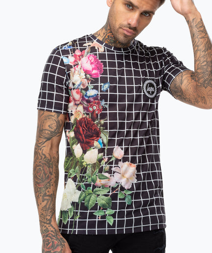 HYPE FLORAL GRID MEN'S T-SHIRT