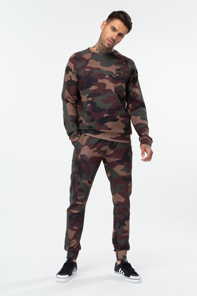 HYPE KHAKI CAMO POLY STRIPE MENS CREW NECK