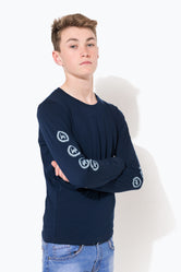 HYPE NAVY CREST SLEEVE KIDS L/S T-SHIRT