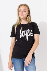 HYPE BLACK HOLO SCRIPT KIDS CROP T-SHIRT