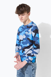 HYPE BLUE CAMO KIDS CREWNECK