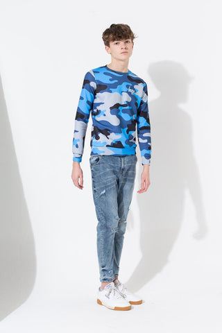 HYPE BLUE CAMO KIDS CREW NECK