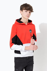 HYPE RED CREST PANEL KIDS PULLOVER HOODIE
