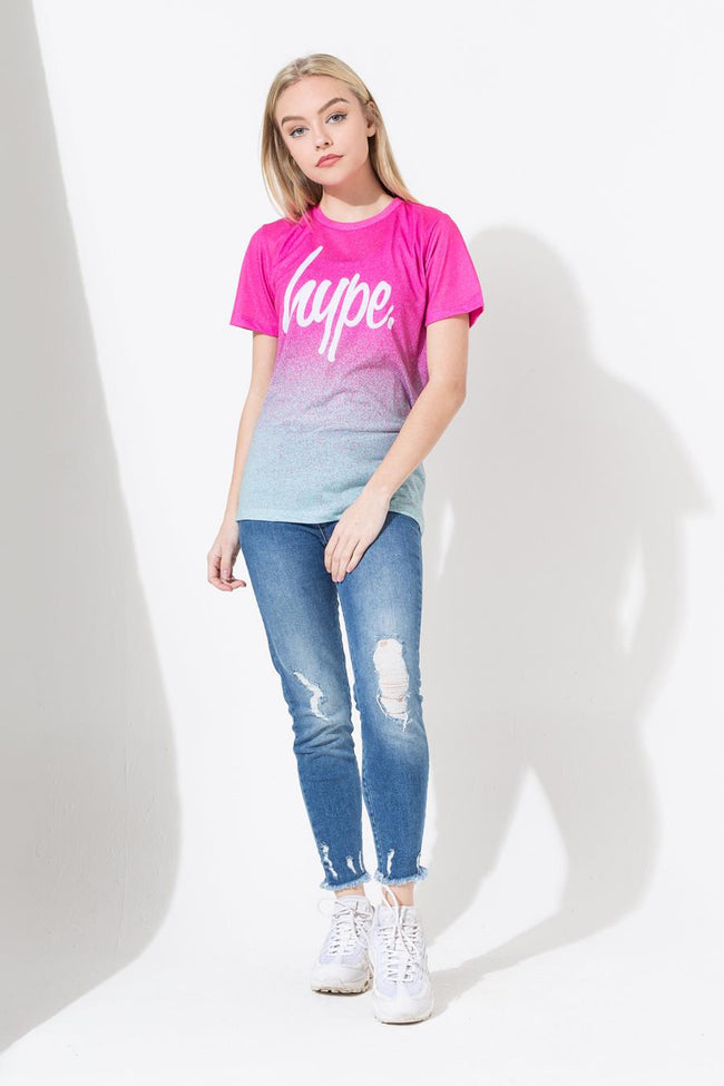 HYPE PINK SPECKLE FADE SCRIPT KIDS SUB T-SHIRT