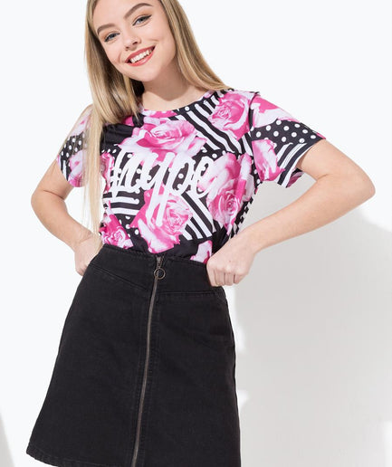 HYPE FLORAL GEO KIDS SUB T-SHIRT