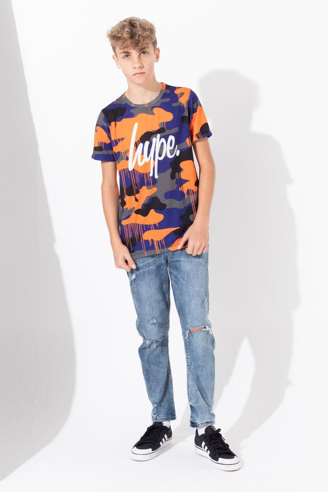 HYPE CAMO DRIPS SCRIPT KIDS T-SHIRT
