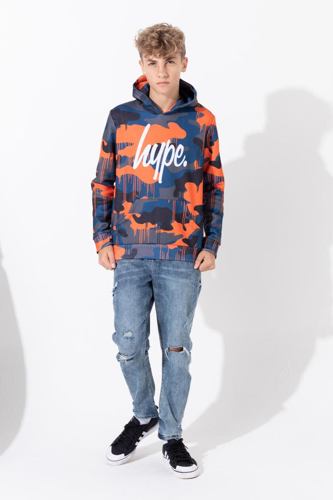 HYPE CAMO DRIPS SCRIPT KIDS PULLOVER HOODIE