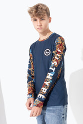 HYPE NAVY BAROQUE RAGLAN KIDS L/S T-SHIRT
