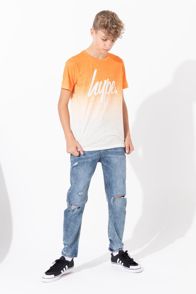HYPE ORANGE WHITE SPECKLE FADE SCRIPT KIDS T-SHIRT
