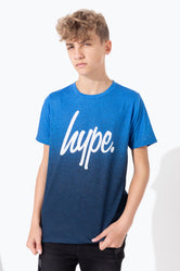 HYPE NAVY BLACK SPECKLE FADE KIDS T-SHIRT