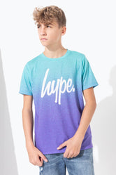 HYPE BLUE PURPLE SPECKLE FADE SCRIPT KIDS T-SHIRT