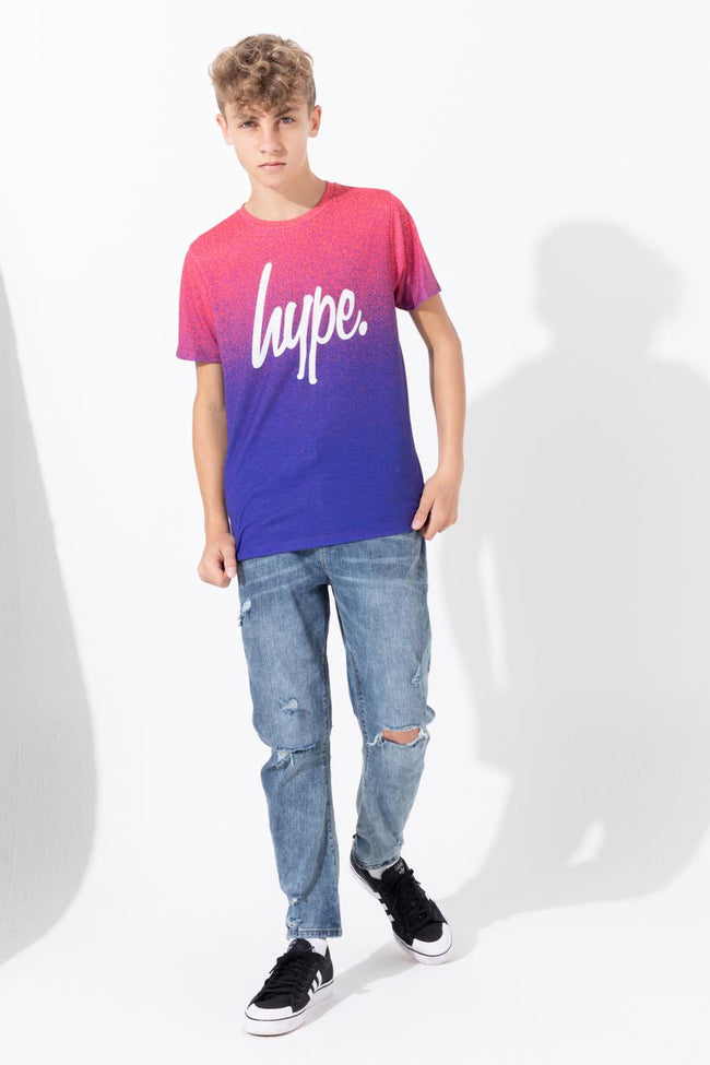 HYPE PINK PURPLE SPECKLE FADE SCRIPT KIDS T-SHIRT