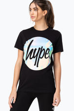 HYPE BLACK HOLO CIRCLE WOMENS T-SHIRT