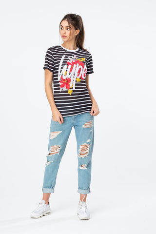 HYPE BLACK STRIPED FLORAL WOMENS T-SHIRT