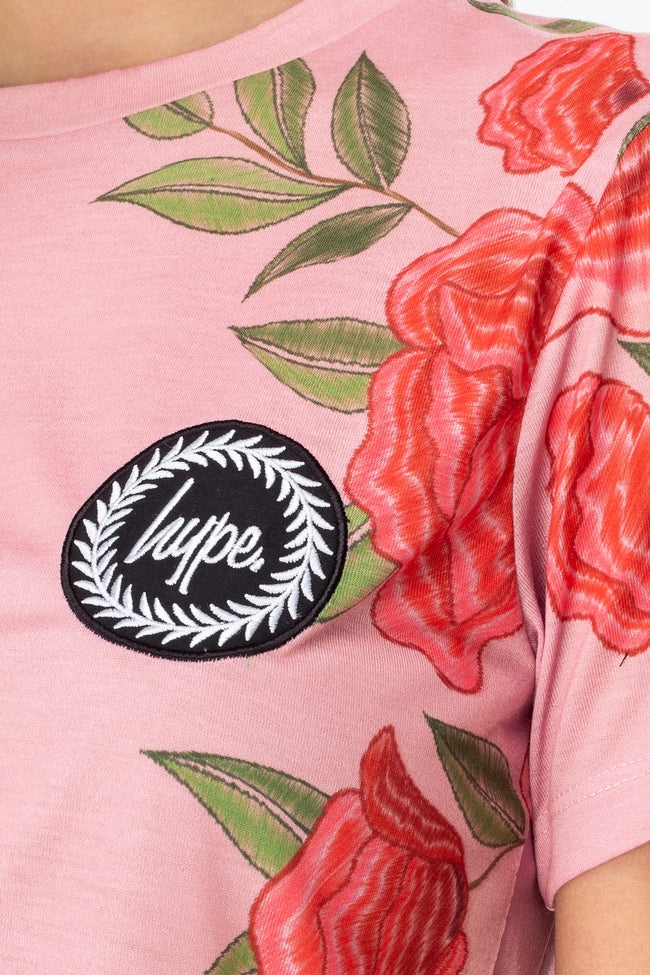 HYPE PINK ROSES CREST WOMENS T-SHIRT