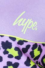 HYPE LILAC LEOPARD COLOURBLOCK KIDS CREW NECK