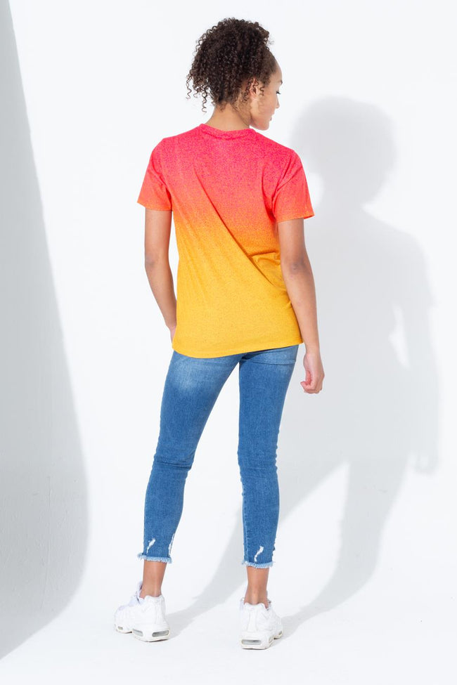 HYPE PINK YELLOW SPECKLE FADE SCRIPT KIDS T-SHIRT