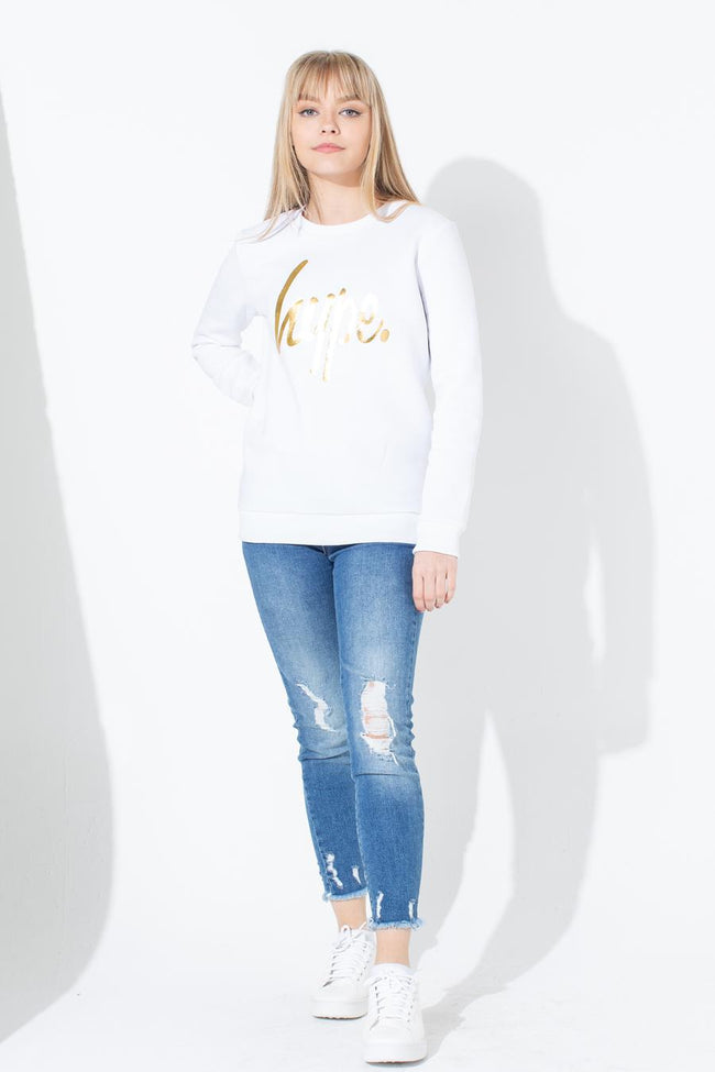 HYPE WHITE GOLD SCRIPT KIDS CREW NECK