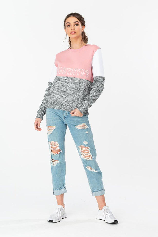 HYPE PINK SPORTING PANEL WOMENS CREW NECK