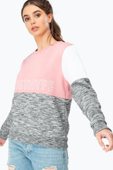 HYPE PINK SPORTING PANEL WOMEN'S CREWNECK