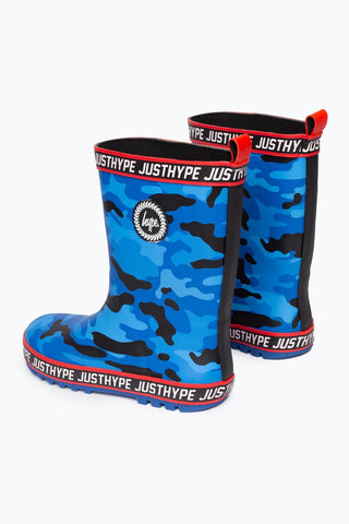Hype Blue Camo Kids Wellies