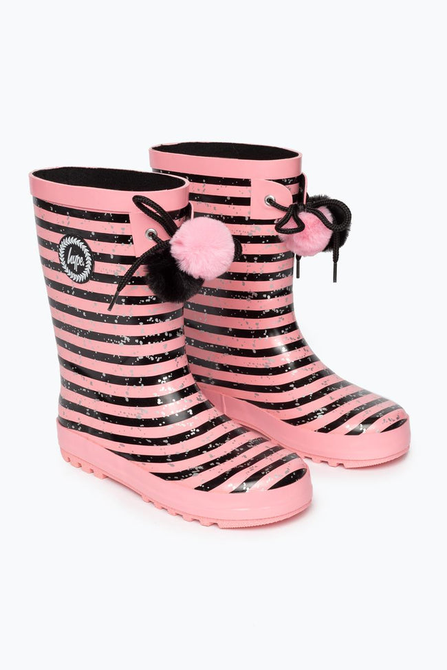 HYPE BLACK PINK STRIPE KIDS WELLIES