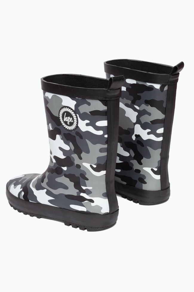 HYPE BLACK CAMO KIDS WELLIES