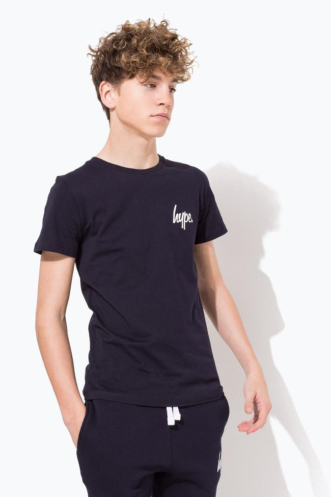 HYPE NAVY MINI SCRIPT KIDS T-SHIRT