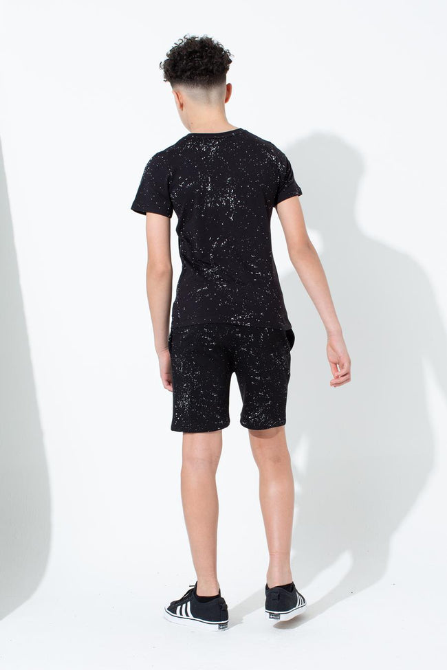 HYPE BLACK AOP SPECKLE KIDS SHORTS