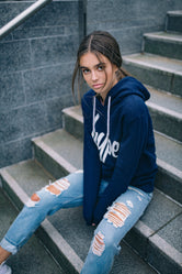 HYPE NAVY WHITE SCRIPT WOMENS PULLOVER HOODIE