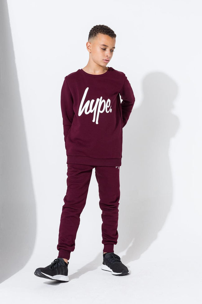 HYPE BURGUNDY SCRIPT KIDS CREW NECK