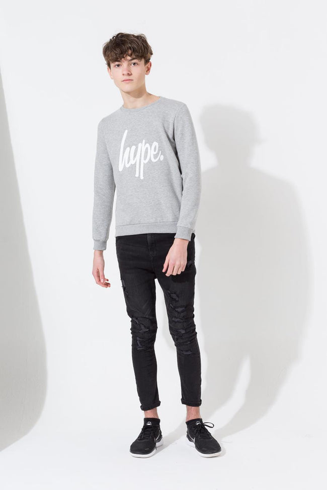 HYPE GREY SCRIPT KIDS CREW NECK