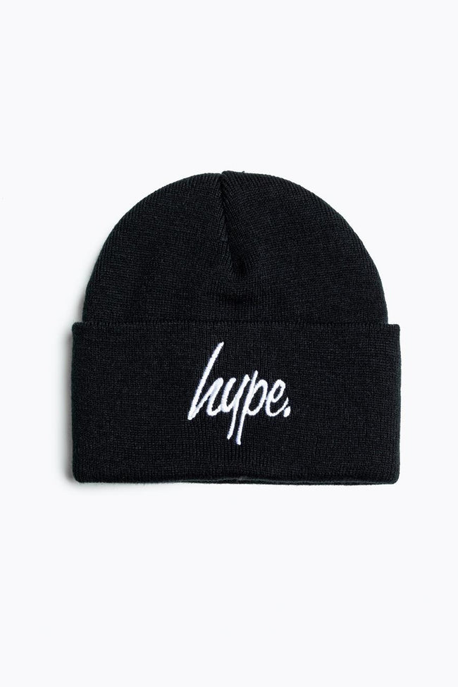HYPE BLACK WITH WHITE SCRIPT BEANIE