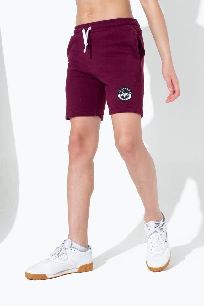 HYPE BURGUNDY CREST KIDS SHORTS