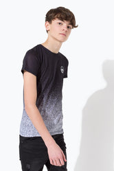 HYPE BLACK SPECKLE FADE CREST KIDS T-SHIRT