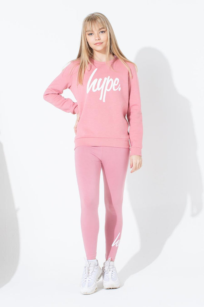 HYPE PINK WHITE SCRIPT KIDS CREW NECK