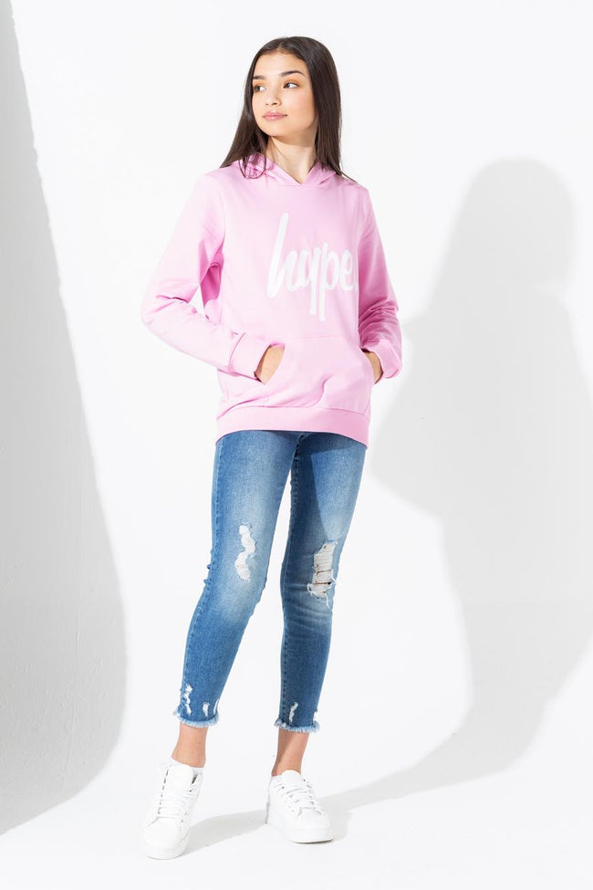 HYPE PINK WHITE SCRIPT KIDS PULLOVER HOODIE