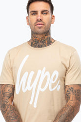 HYPE SAND WHITE SCRIPT MEN'S T-SHIRT