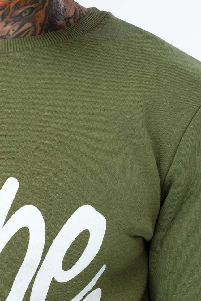 HYPE KHAKI WHITE SCRIPT MENS CREW NECK