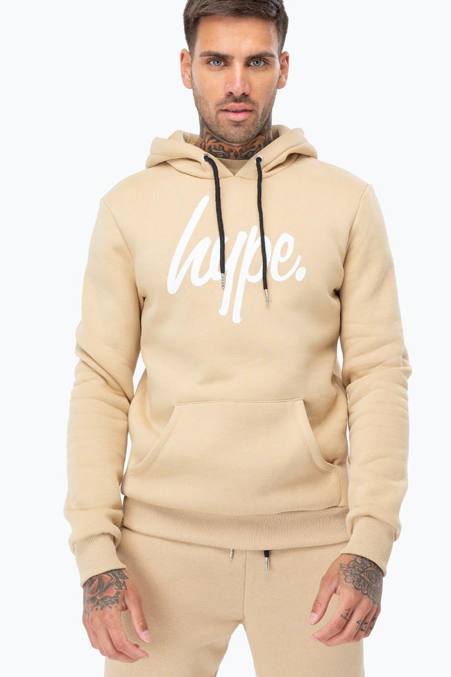 HYPE SAND WHITE SCRIPT MENS PULLOVER HOODIE