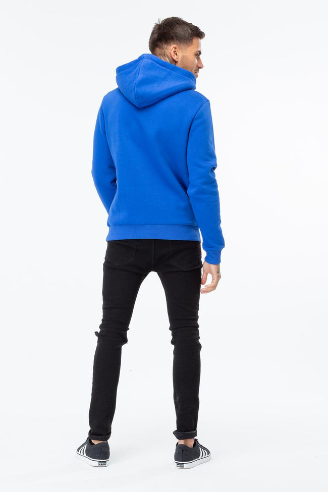HYPE BLUE WHITE SCRIPT MENS PULLOVER HOODIE